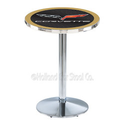 Holland Bar Stool - Holland Bar Stool L214 - Chrome Corvette - C6 Black Pub Table W/ Gold Accent - L214 - Chrome Corvette - C6 Black Pub Table W/ Gold Accent  belongs to General Motors Collection by Holland Bar Stool Made for the ultimate Corvette - C6 enthusiast, impress your buddies with this knockout from Holland Bar Stool. This L214 Corvette - C6 table with round base provides a commercial quality piece to for your Man Cave. You can't find a higher quality logo table on the market. The plating grade steel used to build the frame ensures it will withstand the abuse of the rowdiest of friends for years to come. The structure is triple chrome plated to ensure a rich, sleek, long lasting finish. If you're finishing your bar or game room, do it right with a table from Holland Bar Stool.  Pub Table (1)