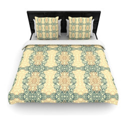 """Kess InHouse - Mydeas """"Fancy Damask Antique"""" Brown Teal Cotton Duvet Cover (Queen, 88"""" x 88"""") - Rest in comfort among this artistically inclined cotton blend duvet cover. This duvet cover is as light as a feather! You will be sure to be the envy of all of your guests with this aesthetically pleasing duvet. We highly recommend washing this as many times as you like as this material will not fade or lose comfort. Cotton blended, this duvet cover is not only beautiful and artistic but can be used year round with a duvet insert! Add our cotton shams to make your bed complete and looking stylish and artistic!"""