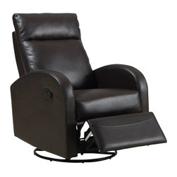 Monarch Specialties - Monarch Specialties Swivel Rocker Recliner Chair in Dark Brown - This contemporary design accent chair combines 3 functional elements... it swivels... it rocks... and it reclines, ensuring that you are always in a comfortable position. This dark brown bonded leather chair with a padded head rest was designed for ultimate comfort. Whether reading a book or watching sports this will be the chair that everyone will want to sit on. The easy glide motion and the contemporary design makes it a chic and fashionable addition for your den, bedroom, living room or basement. It truly is a chair for any room in your home. What's included: Recliner (1).