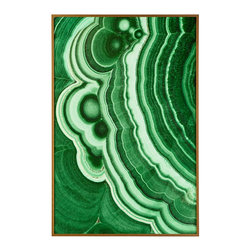 "MALACHITE WALL ART – VERDIGRIS - NEW - Generally found in the depths of Africa, Malachite is a semiprecious stone, named for the Greek word ""mallow,"" a green herb. Designed in-house by the team at Wisteria, this print personifies the healing element of nature. The rich green hues pop against neutral walls, while the flow of the lines deliver a unique energy to a space. With a metal frame, this one-of-a-kind piece is a true magnum opus."