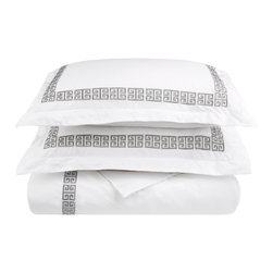 Kendell Full/Queen Duvet Cover Set Cotton - White/Grey - The Kendell Duvet Cover set features an embroidery pattern that is signature to the Kendell Collection. The Duvet Cover matches well with other items from the Kendell collection but it can also be mixed and matched with other bedding accessories to create a unique customized look for your bedroom.