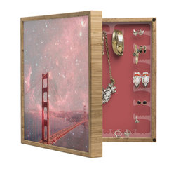 DENY Designs - Bianca Green Stardust Covering San Francisco BlingBox Petite - Handcrafted from 100% sustainable, eco-friendly flat grain Amber Bamboo, DENY Designs BlingBox Petite measures approximately 15 x 15 x 3 and has an exterior matte cover showcasing the artwork of your choice, with a coordinating matte color on the interior. Additionally, the BlingBox Petite includes interior built-in clear, acrylic hooks that hold over 120 pieces of jewelry! Doubling as both art and an organized hanging jewelry box, It's bound to be the most functional (and most talked about) piece of wall art in your home! Custom made in the USA for every order.