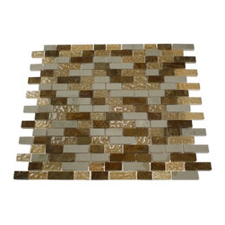 ALLOY SERIES GOLDEN GATE 1/2 X Random GLASS & MARBLE MOSAIC TILES - This beautiful stone mosaic blend of glass and stone tiles leaves a modern feel to any room without forgetting the past. With this polished cream and red marble and polished beige glass in a wavy finish, it leaves the room contemporary yet traditional. The color is painted on the back of the tile so it will not scratch or chip the color off. The mesh backing not only simplifies installation, it also allows the tiles to be separated which adds to their design flexibility.