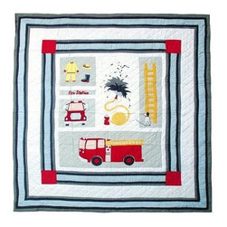 Patch Magic - Fire Truck Quilt (King) - Choose Size: King. Handmade Quilt. 100% Cotton. Machine washable. Cold Water, Hand Washing Preferred. DO NOT machine dry. DO NOT Dry Clean. Twin: 65 in. W x 85 in. L. Queen: 85 in. W x 95 in. L. King: 105 in. w x 95 in. L. Luxury King: 120 in. W x 106 in. L