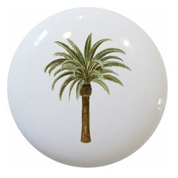 Carolina Hardware and Decor, LLC - Palm Tree Ceramic Cabinet Drawer Knob - Ceramic cabinet, drawer, or furniture knob with mounting hardware included. Also works great in a bathroom or on bi-fold closet doors (may require longer screws). Nice compliment to any room!