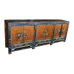 Mortise & Tenon - Vintage Asian Reproduction Cabinet - Looks can be deceiving. This Asian-inspired cabinet has the look of a vintage find, but it's cleverly designed of new and old wood with a distressed painted finish, giving it a look of authenticity. Use it to make a serious style statement in your grand foyer, formal living room or traditional dining room.