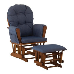 Storkcraft - Hoop Glider & Ottoman in Cognac Finish with Denim Cushion - Includes hoop glider and ottoman.
