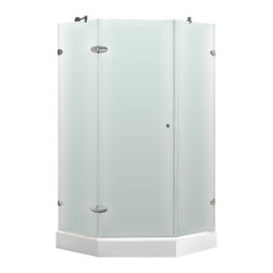 VIGO Industries - VIGO 42 1/8 x 42 1/8 Frameless Neo-Angle Shower, Right Door with White Base - VIGO's exquisite taste and superior quality is reflected in this totally frameless neo-angle shower enclosure.