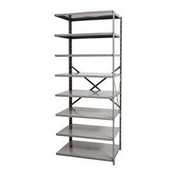 Hallowell - 87 in. High 8-Tier Hi-Tech Medium-Duty Open Shelving - Adder (36 in. W x 18 in. - Depth: 36 in. W x 18 in. D x 87 in. H. Designed to link to existing shelving units, this eight-tier medium-duty utility shelf will make any space neater and more organized. Perfect for a garage, workshop or commercial space, the unit is made of cold rolled steel with a braced back and is available in your choice of depths. Great addition to Hi-Tech medium-duty open shelving starter unit. Open style with sway braces. 8 Adjustable shelves. Fabricated from cold rolled steel. Welds are spaced 3 in. on center to provide maximum strength. Sides are triple flanged to form a channel. All 4 corners are lapped and resistance welded to provide a rigid corner and add extra strength to the shelf. Tubular front edge is designed to protect against impact loads. 36 in. W x 12 in. D x 87 in. H. 36 in. W x 18 in. D x 87 in. H. 36 in. W x 24 in. D x 87 in. H. Assembly required. 1-Year warranty