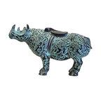 Chinese Green Bronze-ware Rhino Figure Display -