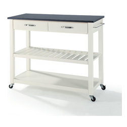 Crosley - Solid Black Granite Top Kitchen Cart/Island With Optional Stool Storage - Dimensions:   18 x 42 x 36 inches