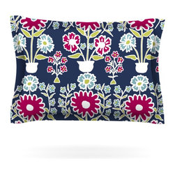 """Kess InHouse - Laura Nicholson """"Turkish Vase"""" Navy Magenta Pillow Sham (Cotton, 30"""" x 20"""") - Pairing your already chic duvet cover with playful pillow shams is the perfect way to tie your bedroom together. There are endless possibilities to feed your artistic palette with these imaginative pillow shams. It will looks so elegant you won't want ruin the masterpiece you have created when you go to bed. Not only are these pillow shams nice to look at they are also made from a high quality cotton blend. They are so soft that they will elevate your sleep up to level that is beyond Cloud 9. We always print our goods with the highest quality printing process in order to maintain the integrity of the art that you are adeptly displaying. This means that you won't have to worry about your art fading or your sham loosing it's freshness."""