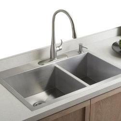 KOHLER - KOHLER K-3823-4-NA Vault Offset Kitchen Sink with Four-Hole Faucet Drilling - KOHLER K-3823-4-NA Vault Offset Kitchen Sink with Four-Hole Faucet Drilling