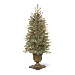 4 Ft. Frosted Spruce Entrance Christmas Tree with 100 Clear Lights - Measures 4 feet tall with 25 inch diameter. Indoor or outdoor use. Features FEEL-REAL branch tip technology for remarkable realism! Pre-lit with 100 UL listed, pre-strung Clear lights. Tip count: 280. Trimmed with pine cones. Light string features BULB-LOCK to keep bulbs from falling out. If one bulb burns out the others remain lit. Includes spare bulbs and fuses. Fire-resistant and non-allergenic. Packed in reusable storage carton.