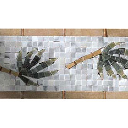 Palm Branch Border Mosaic - Fiorano Tile Showrooms is a family owned and operated business that has been serving the Long Island / NY Tri-State area since 1977.