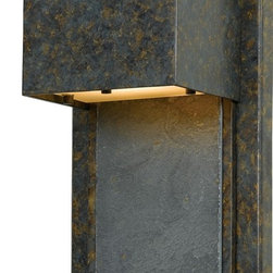 Quoizel - Quoizel 1-Light Zephyr Outdoor Wall Lanterns, Muted Bronze - ZP8414MD - Enhance the exterior of your home with this unique contemporary design. It features a richly mottled back plate with a slate accent. Slate is a fine-grained natural stone that was formed on ancient sea beds over millions of years. It is a stately and durable stone that will leave a lasting impression.