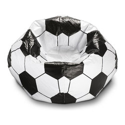 ABC Lifestyle - Soccer Ball Bean Bag - Twin locking zippers. Can be easily refilled. Wipe clean. 4.5 cube of fill. 90 days warranty. Made from vinyl and polystyrene bead. 96 in. Dia.