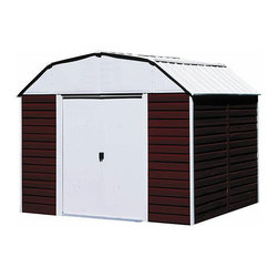 Arrow Sheds - Arrow Red Barn Steel Shed - Perfect for any rural home,one of these red steel sheds will protect your lawn equipment,tools,and sporting equipment from inclement weather and theft. Its wide door opening will accommodate most riding mowers,and you will love the high roof.