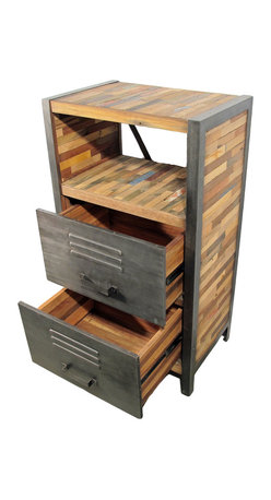 """Impact Imports USA, Inc. - Tall Dresser with 2 Drawers & 1 Open Shelf, Locker Style - A tall dresser with 2 drawers and 1 open shelf, hand crafted from salvaged fishing boat wood.  This is a popular dresser and is part of the """"Locker"""" style line of reclaimed / salvaged boat wood furniture pieces offered by Impact Imports."""