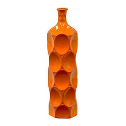 "Benzara - Ceramic Bottle With Circular Embedded Design Body in Orange (Medium) - A multiversatile decor item that will enhance and accentuate your interior decor, the Unique Ceramic Bottle With Thin Mouth and Circular Embedded Design Body in Orange (Medium) features a lovely slim mouth and a stylish circular embedded design on its body. This ceramic bottle can be used as a standalone decor item or be paired with flowers to decorate and add color to your mantle place, desk or table. The dimensions of the Unique Ceramic Bottle With Thin Mouth and Circular Embedded Design Body in Orange (Medium) are 4.5""x18""H. Ceramic; Orange; 4.5""x18""H; Dimensions: 0""L x 5""W x 18""H"