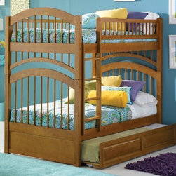 Windsor Bunk bed in Caramel Latte by Atlantic Furniture - The Windsor Bunk Bed is the perfect mission-style bunk bed for your children's bedroom. Available in twin-over-twin construction with railings on the top bunk, the sturdy Windsor Bunk Bed is constructed of solid hardwood. Add optional under-bed storage drawers or an optional trundle unit to make the most of under-bed space.