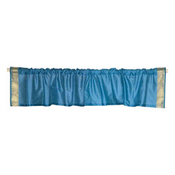Indian Selections - Pair of Turquoise Rod Pocket Top It Off Handmade Sari Valance, 80 X 20 In. - Size of each Valance: 80 Inches wide X 20 Inches drop. Sizing Note: The valance has a seam in the middle to allow for the wider length