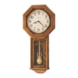 Howard Miller - Howard Miller Dual Chime Octagonal Oak Wall Clock with Pendulum   ANSLEY - 620160 Ansley