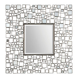 Ren-Wil - Ren-Wil MT1296 Opie Mirror - The Opie mirror has a center square beveled mirror surrounded by small polished mirrors embedded in a geometrically designed metal frame.