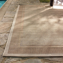 Frontgate - Capri Outdoor Rug - Flat woven construction combines five patterns. 100% fine-spun polypropylene. Mold and mildew resistant. Hose clean and allow to dry in the sun; use mild soap for hard to remove stains. An arrangement of five distinct weaving techniques, our artisanal Capri Outdoor Rug offers exceptional texture and dimension, all with a low profile. The versatile, natural color palette imparts a ground evocative of sandy beaches.  .  .  .  .