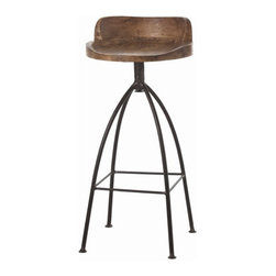 "Arteriors Home - Arteriors Home Hinkley Swivel Barstool - Arteriors Home 2747 - Get out the swizzle sticks! When you ask someone to ""belly up to the bar,"" you better have a good place to sit. This solid wood, mango and wrought iron barstool is attractive and comfortable. And the 34-inch seat height is perfect for most bars. Need more? It swivels."