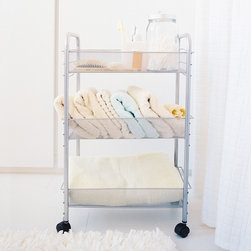 Mesh Rolling Cart - Small - Sometimes is seems like there is never enough storage space in the bathroom. So we find ourselves searching out racks and hangers and shelves. This mesh Rolling Cart is perfect for your folded towels and extra bath products, and will also attractively hold your bathroom necessities.