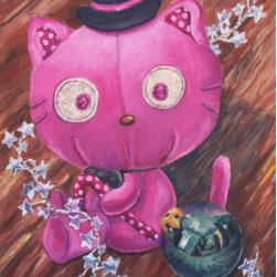 "Monoberry Chococat's Christmas (Original) by Sandra Fremgen - ""Monoberry Chococat's Christmas"" an Original Oil Painting by Sandra Fremgen"