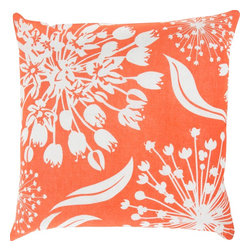 """Surya - Surya KSL-006 Pillow, 18"""" x 18"""", Down Feather Filler - Multidimensional and varied floral design will create a truly natural, yet intricate look for your space with this exquisite pillow by designer Kate Spain. Featuring a series of flower prints placed perfectly atop a vibrant canvas, this piece will radiate charm and trend in your space, fashioning a piece that will remain timelessly unique in any room. This pillow contains a zipper closure and provides a reliable and affordable solution to updating your home's decor. Genuinely faultless in aspects of construction and style, this piece embodies impeccable artistry while maintaining principles of affordability and durable design, making it the ideal accent for your decor."""