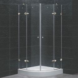 Vigo - Vigo 40 x 40 Frameless Neo-Round 1/4in.  Clear/Chrome Shower Enclosure with Base - Vigo designs easy-to-install shower enclosures to enhance any bathroom and suit your needs.