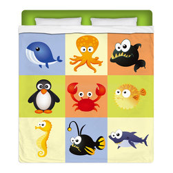 """Eco Friendly Queen Size """"Beach Animals"""" Kids Sheet Set - Our """"Beach Animals"""" Queen Size Sheet Set from our Surfer Seaside Bed and Bath Collection is made of a lightweight microfiber for the ultimate experience in softness~ extremely breathable!"""