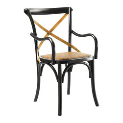 Kathy Kuo Home - Kasson French Country Black Oak Wood Dining Arm Chair - Evoking the seat at your favorite table in the boisterous brasserie, this French Country oak armchair is the perfect place to enjoy a meal or an evening of engaging conversation. The polished black finish adds a modern touch to the classic architecture, complemented by a hand-woven rattan seat and cross-hatch across the back for stylish support.