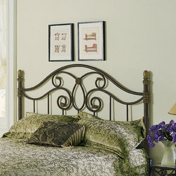 """FBG - Dynasty Metal Headboard - The Dynasty bed is designed to survive the ages. The imposing 1'' heavy top rail defines strength, durability and quality. Tall posts anchor the massive frame to the floor and the camelback headboard arches upwards. Underneath, a bold looped pattern spreads out dramatically and each scroll design is finished with gold highlighted casted ends. Widely spaced metal bars spread across the bottom of both grills. Simple, but detailed, scalloped finials embellish the top of the posts to complete this substantial piece. The multi-step finish - textured brown lightly sponged with a gold tint and a soft gold highlight on the castings, finials and feet - gives the Dynasty added sophistication as well as a natural touch. The Dynasty defines traditional, vintage charm. Features: -Linens and mattress are not included.-Lighweight steel construction.-Autumn Brown metal finish.-Gloss Finish: No.-Powder Coated Finish: Yes.-Hardware Material: Metal.-Non Toxic: Yes.-Scratch Resistant: No.-Adjustable Height: No.-Lighting Included: No.-Wall Mounted: No.-Reversible: No.-Hardware Finish: Autumn Brown.-Finished Back: Yes.-Distressed: No.-Hidden Storage: No.-Freestanding: No.-Frame Required: Yes.-Frame Included: No.-Drill Holes for Frame: Yes.-Collection: Dynasty.-Swatch Available: No.-Eco-Friendly: No.-Product Care: Wipe with a clean, damp cloth.-Recycled Content: No.Specifications: -EPP Compliant: No.-CPSIA or CPSC Compliant: Yes.-ASTM Certified: No.-ISTA 3A Certified: Yes.-General Conformity Certificate: Yes.-Green Guard Certified: No.Dimensions: -Overall Height - Top to Bottom (Size: Full): 54.125"""".-Overall Height - Top to Bottom (Size: Queen): 54.125"""".-Overall Height - Top to Bottom (Size: King): 54.125"""".-Overall Width - Side to Side (Size: Queen): 62.5"""".-Overall Width - Side to Side (Size: King): 78.5"""".-Overall Width - Side to Side (Size: Full): 55.5"""".-Overall Depth - Front to Back (Size: Full): 2"""".-Overall Depth - Front to Back (Size: Queen): 2"""".-Overal"""