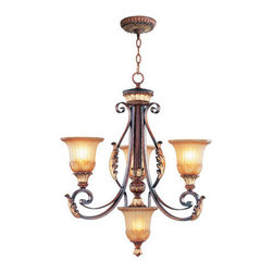 Livex Lighting - Livex Lighting 8574-63 Villa Verona 3-Light Chandelier in Verona Bronze - This 3 light Chandelier from the Villa Verona collection by Livex will enhance your home with a perfect mix of form and function.