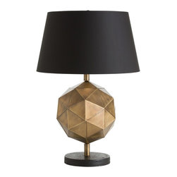 Arteriors Dru Lamp - Similar to accessories already in the line, this antique brass finished steel lamp base is