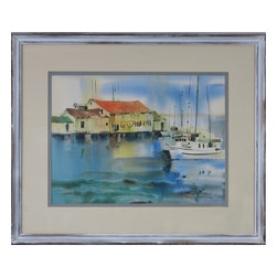 Consigned Original Watercolor Painting, Vintage Seaside Pier - Original vintage watercolor of seaside scene at the Merritt Fish pier with fishing boats.