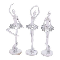 Benzara - Dazzling and Beautiful Silver Polystone Ballet Dancer Assorted Set of Three - Dazzling and Beautiful Silver Polystone Ballet Dancer Assorted Set of Three. If you love collecting decor items, then don't miss these dazzling and beautiful assorted ballet dancer Set of three. You can display them in your living room wall shelf or keep them on your dressing table. The dimensions of the ballet dancers assorted Set of three are 5 x 3. 5 x 14, 4 x 4 x 12 and 4 x 4 x 14. Some assembly may be required.