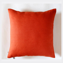 Pillowlink - Orange linen pillow cover - Size 16x16 inch