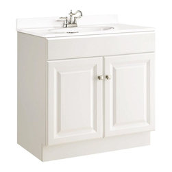 Design House - Wyndham Vanity w 2 Doors (Small) - Choose Size: SmallVanity top and faucet not included. One fake drawer face. Clean lines and concealed hinges. Particle board side panels. Cam-Lock connectors. Plenty of storage for toiletries to keep countertop free of clutter. Door opens with fluid motion. Durable thermofoil full overlay door design. Fits into medium sized bathroom. Frameless design for increased storage and accessibility. Silver finished hardware. Strong corrosion resistant finish. CARB compliant. California 93120 compliant. White semi-gloss finish. Small: 30 in. W x 18 in. D x 31.5 in. H. Large: 30 in. W x 21 in. D x 31.5 in. H. Warranty. Assembly InstructionsPerfect for an elegant country style home. Modern construction meshes with subtle vintage details for an elegant addition to your bathroom. This product is perfect for remodeling your bathroom and matches granite countertops and colored walls. With a strong corrosion resistant finish, this product attests to the quality of all Design House products, and integrates traditional curves with the amenities of industry leading features.