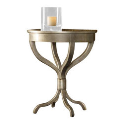 Hooker Furniture - Melange Brooklyn Accent Table - Serpentine legs in a sophisticated faux zinc finish are gathered and tied like a bouquet at the base of the Brooklyn table.  Antique mirrored top.
