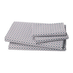 DwellStudio - Lockwood Sheet Set by DwellStudio - The DwellStudio Lockwood Sheet Set is a modern take on vintage textiles. The stamped print is geometric and floral, with grey Flint-colored diamonds and overlapping circles accented by Cranberry dots. Made out of 200 thread count cotton, this set is soft and easy to maintain. DwellStudio, founded in 1999 by Christiane Lemieux, specializes in home furnishings steeped in modern design. With a unique sense of color and a strong commitment to quality and innovation, DwellStudio continues to create its own distinctive interpretation of modern home furnishings. In the same creative spirit, the company encourages their customers to experiment with mixing various DwellStudio textile lines together.