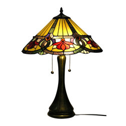 Warehouse of Tiffany - Ambrosia Table Lamp - 2 Pull chain. Requires two 60W bulb . Tones of Red, Blue and Green. Shade contains hand cut pieces of stained glass. Each glass is individually cut wrap around copper foil and soldered together. Minimal assembly required. 18 in. L x 18 in. W x 22 in. H (10 lbs.)This elegant Ambrosia Table Lamp has been handcrafted using methods first developed by Louis Comfort Tiffany. Shade contains hand cut pieces of stained glass, each wrapped in fine copper foil. Highlighted by a motif in tones of Red, Blue and Green.