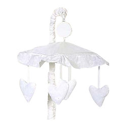Sweet Jojo Designs - White Eyelet Mobile - White Eyelet Mobile by Sweet Jojo Designs will have you putting your baby to sleep in style. When wound up this crib mobile spins and plays Brahms' lullaby. This musical crib mobile has been manufactured to fit standard sized cribs. The mobile set includes a musical mobile frame, canopy with hanging toys, and matching arm sleeve cover. Please note:The plastic clamp fits standard rails up to 2 3/4 in. wide. Non-standard crib rails may be wider than 2 3/4 in. and may not work with these mobile frames.