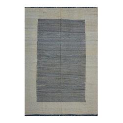 "ALRUG - Handmade Grey/Beige Oriental Kilim  6' 9"" x 10' 1"" (ft) - This Afghan Kilim design rug is hand-knotted with Wool on Wool."