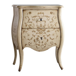 "Hooker Furniture - Melange Ariana Hand Painted Chest - A soft shape, hand painted design and multi-faceted glass knobs create a vintage vibe for the Ariana chest.  Two drawers.  Bottom Drawer: 15 1/8"" w x 12 1/4"" d x 5"" h  Top Drawer: 14"" w x 11 7/16"" d x 6 3/8"" h"