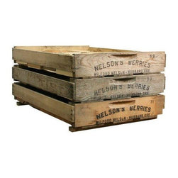 Used Vintage Wooden Berry Crates - Set of 3 - A set of three vintage wood berry crates. The crates were locally salvaged from Nelson's Berry farm in Hubbard, OR. These rustic wooden crates have many practical uses today: use them to arrange your table settings, organize your book shelves or -- whatever you'd like!    We love the carved handles and the stenciled ends!
